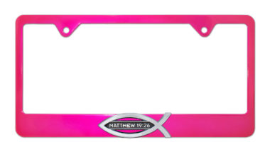 Christian Fish Matthew 19:26 Pink License Plate Frame image