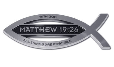 Christian Fish Matthew 19:26 Verse Chrome Emblem