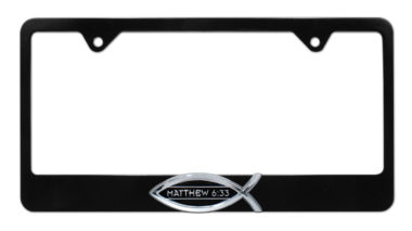 Christian Fish Matthew 6:33 Black License Plate Frame  image