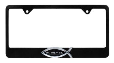 Christian Fish Matthew 6:33 Black License Plate Frame  image