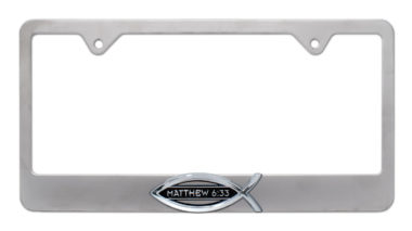 Christian Fish Matthew 6:33 Brushed License Plate Frame image