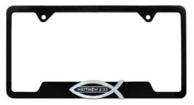 Christian Fish Matthew 6:33 Black Open License Plate Frame image
