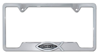 Christian Fish Matthew 6:33 Chrome Open License Plate Frame