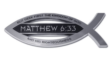 Christian Fish Matthew 6:33 Verse Chrome Emblem image