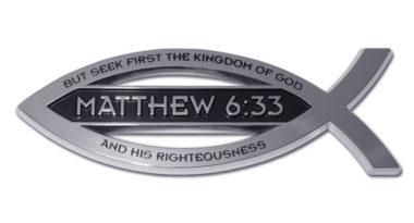 Christian Fish Matthew 6:33 Verse Chrome Emblem