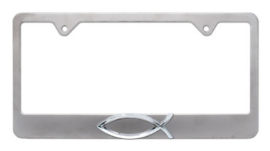 Christian Fish Brushed License Plate Frame