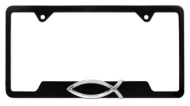 Christian Fish Black Open License Plate Frame