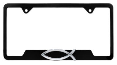 Christian Fish Black Open License Plate Frame image