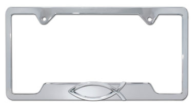 Christian Fish Chrome Open License Plate Frame