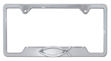 Christian Fish Chrome Open License Plate Frame