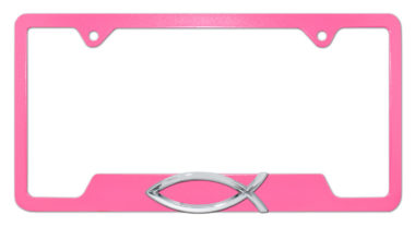 Christian Fish Pink Open License Plate Frame