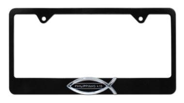 Christian Fish Philippians 4:13 Black License Plate Frame image