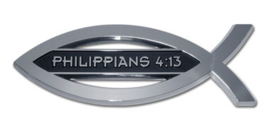Christian Fish Philippians 4:13 Chrome Emblem