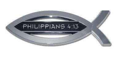 Christian Fish Philippians 4:13 Chrome Emblem image