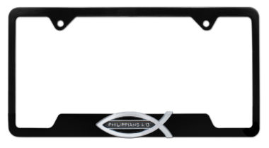 Christian Fish Philippians 4:13 Black Open License Plate Frame image