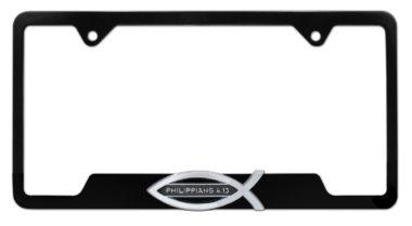 Christian Fish Philippians 4:13 Black Open License Plate Frame