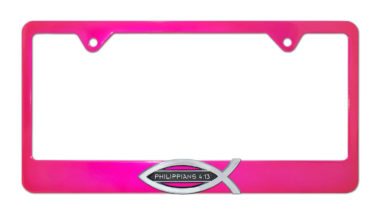 Christian Fish Philippians 4:13 Pink License Plate Frame image