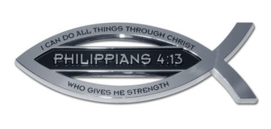 Christian Fish Philippians 4:13 Verse Chrome Emblem