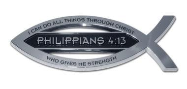 Christian Fish Philippians 4:13 Verse Chrome Emblem image