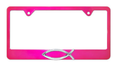 Christian Fish Pink License Plate Frame image