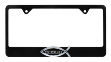 Christian Fish Proverbs 3:5-6 Black License Plate Frame image