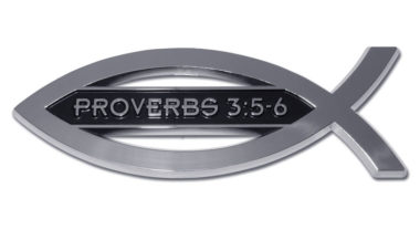 Christian Fish Proverbs 3:5-6 Chrome Emblem