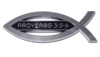 Christian Fish Proverbs 3:5-6 Chrome Emblem image