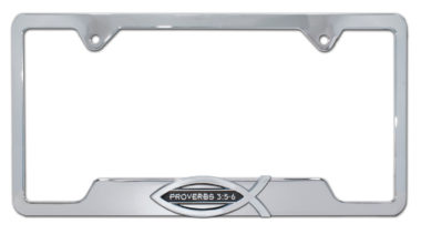 Christian Fish Proverbs 3:5-6 Chrome Open License Plate Frame image