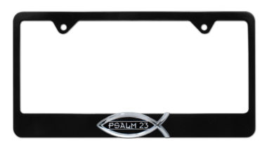 Christian Fish Psalm 23 Black License Plate Frame image
