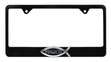 Christian Fish Psalm 23 Black License Plate Frame image