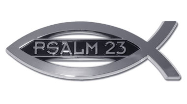 Christian Fish Psalm 23 Chrome Emblem image