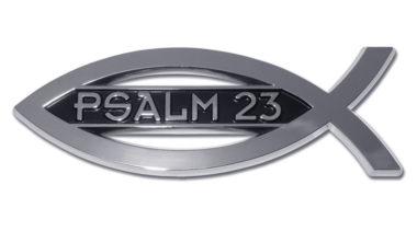 Christian Fish Psalm 23 Chrome Emblem image