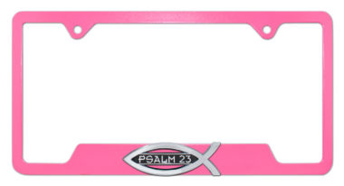 Christian Fish Psalm 23 Pink Open License Plate Frame