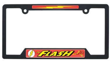 The Flash Black Plastic Open License Plate Frame