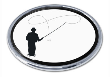Fly Fishing Chrome Emblem