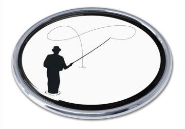 Fly Fishing Chrome Emblem