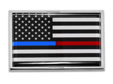 Large First Responders Flag Chrome Auto Emblem