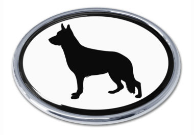 German Shepherd White Chrome Emblem