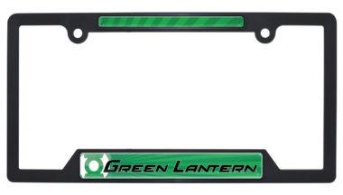 Green Lantern Black Plastic Open License Plate Frame image