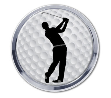 Golf Ball Swing Chrome Emblem