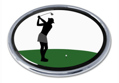 Golf Swing Female Chrome Emblem
