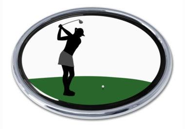 Golf Swing Female Chrome Emblem