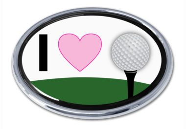 I Love Golf Chrome Emblem