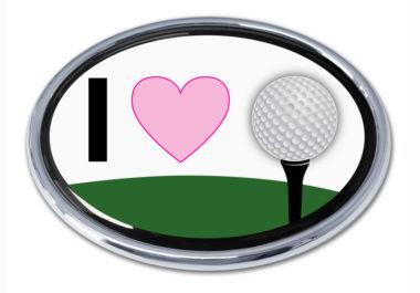 I Love Golf Chrome Emblem