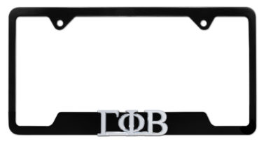 Gamma Phi Beta Sorority Black Open License Plate Frame