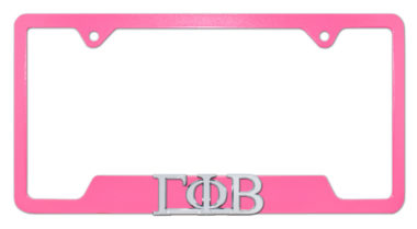 Gamma Phi Beta Sorority Pink Open License Plate Frame