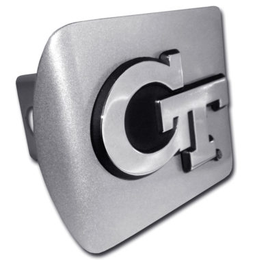 Georgia Tech Emblem on Brushed Hitch Cover