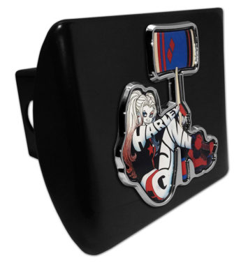 Harley Quinn Emblem on Black Metal Hitch Cover