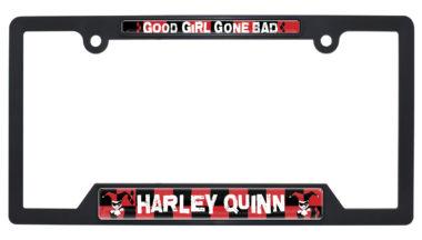 Harley Quinn Black Plastic Open License Plate Frame