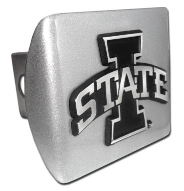 Iowa State Emblem on Brushed Hitch Cover